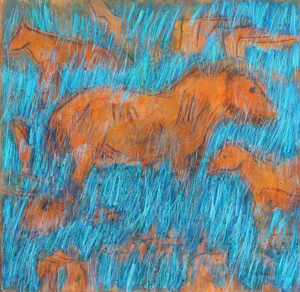 Chevaux oranges dans la prairie bleue